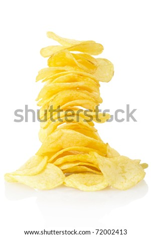 Potato chips isolated on white, clipping path included - stock photo