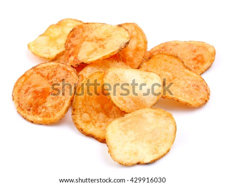 Potato chips isolated on white.Fast food - stock photo