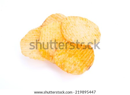 Potato chips isolated on white with clipping path