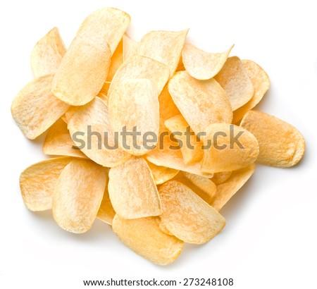 Potato chips isolated white background. - stock photo