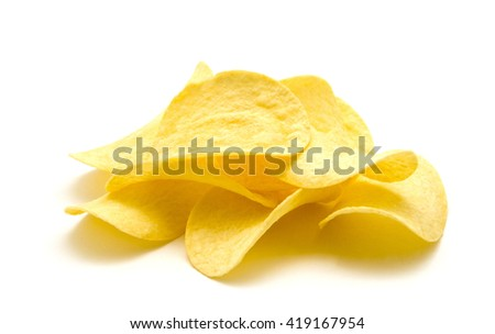 Potato chips isolated white background. - stock photo