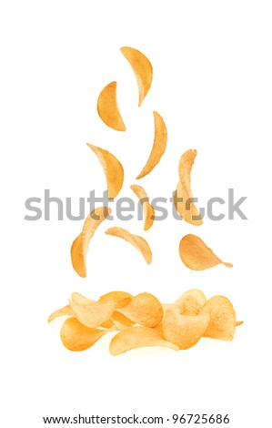 potato chips scatter on the hill of chips on a white background - stock photo