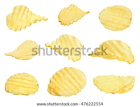 potato chips set isolated on a white background