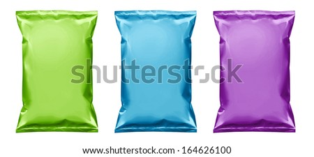 Potato chips snack plastic bag packaging colored isolated on white - stock photo