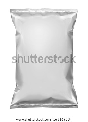 Potato chips snack plastic packaging isolated on white - stock photo