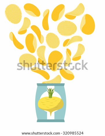 Potato chips taste of turnips. Packaging, bag of chips on a white background. Chips flying out from Pack. Delicacy for vegetarians. Food illustration. - stock photo