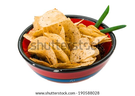 Potato chips with onion - stock photo