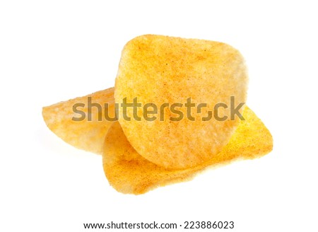 Potato chips with pepper isolated on white background