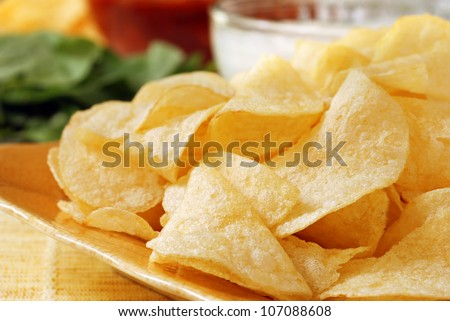 Potato chips with salsa, fresh veggies and party dip in soft focus in background.  Macro with shallow dof. - stock photo