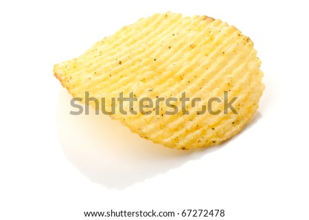 Potato chips with spice isolated on white background