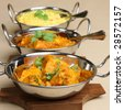 Potato curry with chciken curry and rice - stock photo