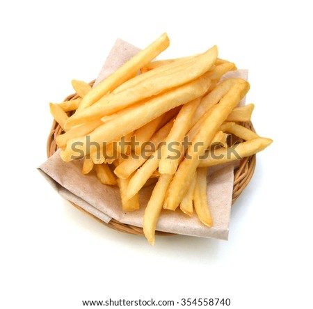 Potato fry in basket on white background