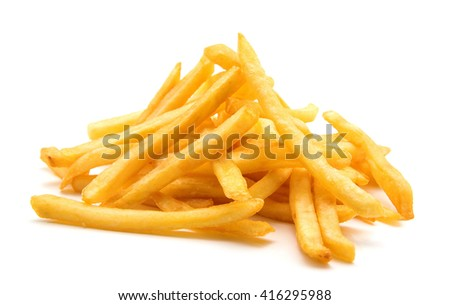 potato fry on white isolated background - stock photo