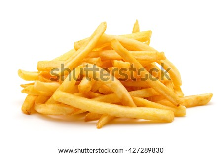 potato fry on white isolated background