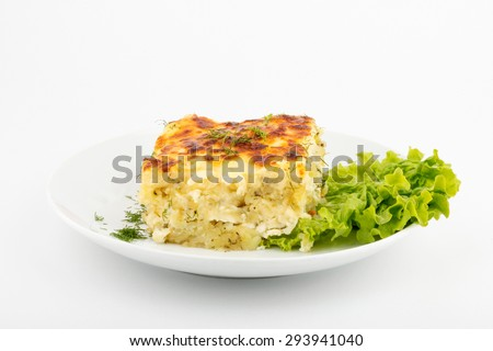 Potato gratin. Front view. Selective focus. White background. - stock photo