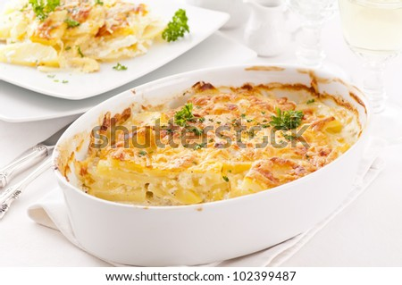 potato gratin with cream and cheese