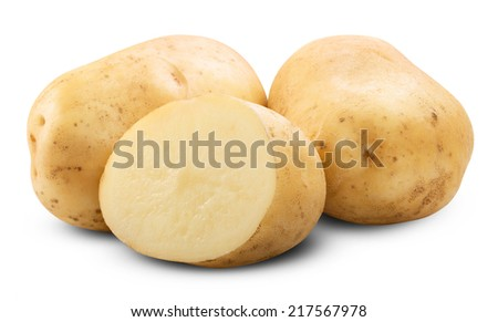 potato isolated on a white background close up. Clipping Path - stock photo