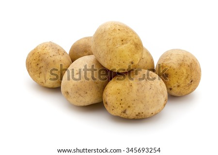 Potato isolated on white background close up.