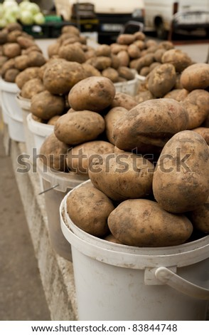 Potato on local market. This year harvest - stock photo