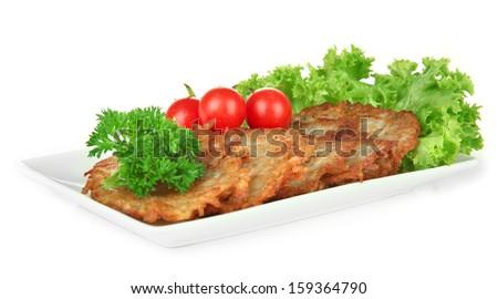 Potato pancakes on plate, isolated on white - stock photo