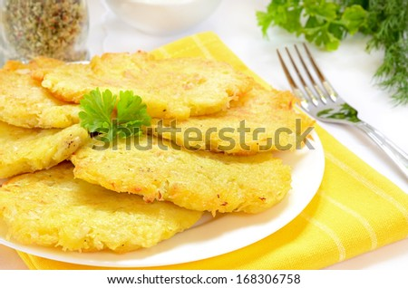 Potato pancakes on white plate - stock photo