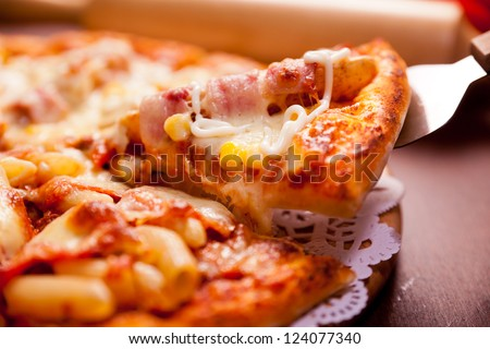 Potato pizza, topped with butter and fried potatoes block - stock photo