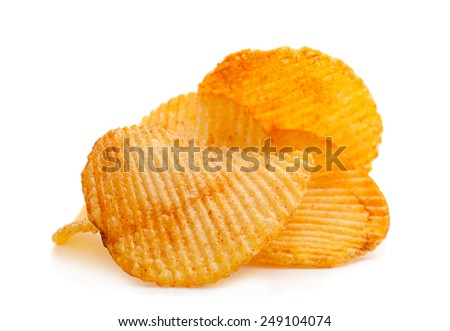 Potato ripple chips snack isolated on white