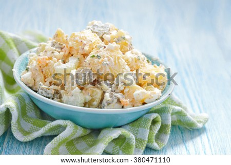 Potato Salad With Sour Cream Sauce With Mustard Seeds Pickles Chives And Honey