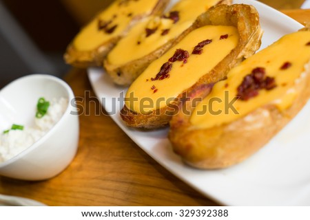 Potato skins, dining appetizer in the restaurant circumstance  - stock photo