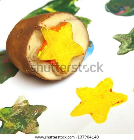 Potato stamps - stock photo