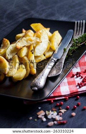 Potato wedges with species on serving plate - stock photo