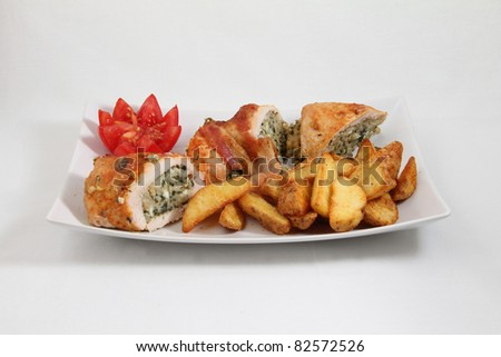 potato with loaded meat on white plate isolated on white background - stock photo