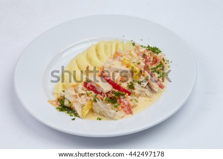 potato with meat - stock photo