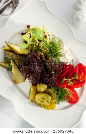 Potato with Pickled Vegetables Plate - stock photo
