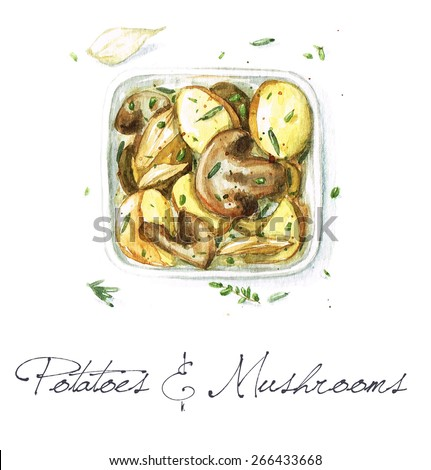 Potatoes and Mushrooms - Watercolor Food Collection - stock photo