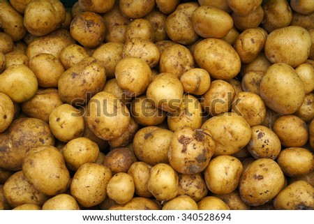 Potatoes at a vegetable market. - stock photo