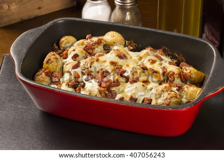 potatoes baked with bacon and cheese.