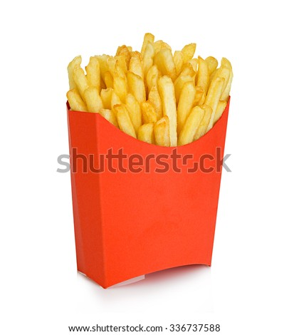 Potatoes fries in a red carton box isolated on a white background. Fast Food. - stock photo