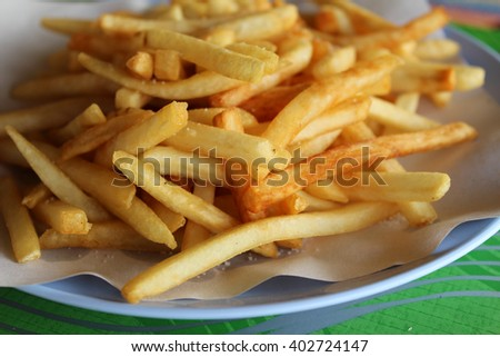 Potatoes fries in the plate ready for served