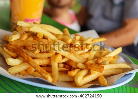 Potatoes fries in the plate ready for served - stock photo