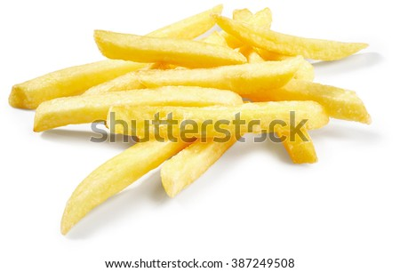 Potatoes fries isolated on white background - stock photo