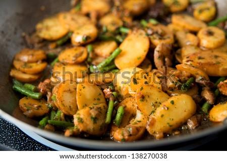 Potatoes, Green Beans, Mushrooms Saut�©ed for Dinner - stock photo