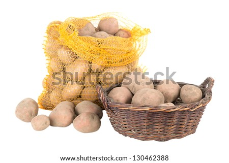 Potatoes in a bag and a basket
