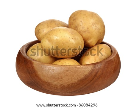 potatoes in bowl on white background