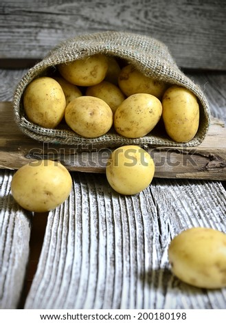 Potatoes in the sack on the rustic background.Selective focus. - stock photo