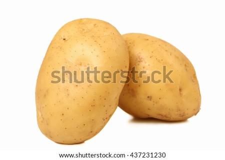 Potatoes isolated on white - stock photo