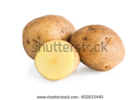 Potatoes isolated on white background - stock photo