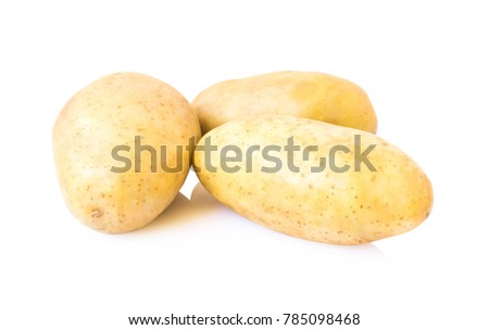 Potatoes isolated on white background, raw food