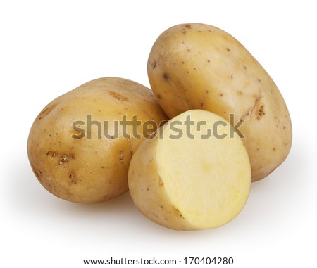 Potatoes isolated on white background with clipping path - stock photo