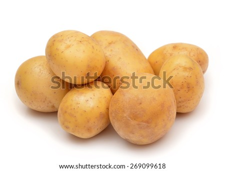 Potatoes isolated on white. Bunch of potatoes. - stock photo